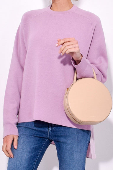 Luxe Merino Wool Silk Back Pullover in Pink Lilac