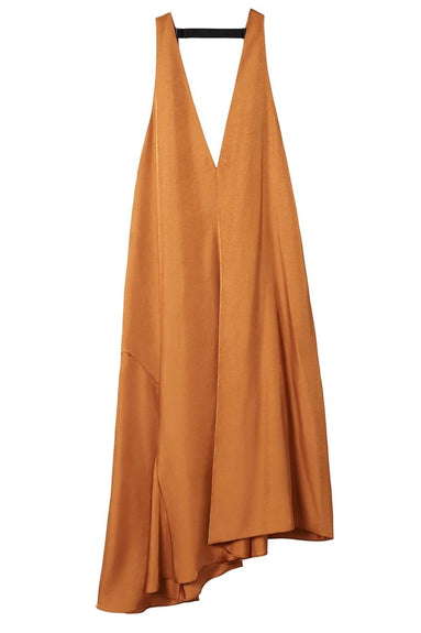 Mendini Twill V-Neck Draped Dress in Terra