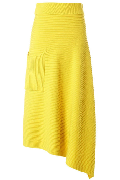 Merino Rib Origami Wrap Skirt in Yellow