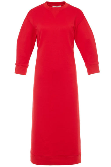 Open Back Sweatshirt Midi Dress in Cherry Red