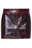 Patent Coated Wool Mini Skirt in Rouge