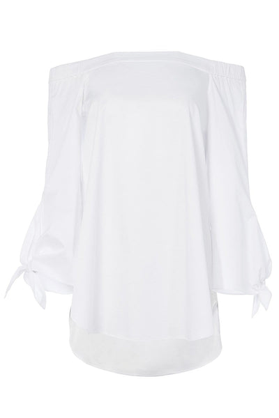 Satin Poplin Off The Shoulder Tunic in White