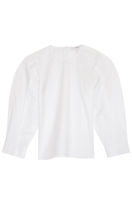 Satin Poplin Sculpted Tucked Top in White