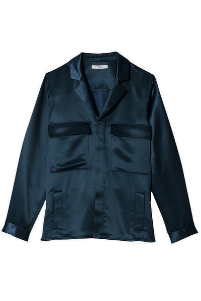 Satin Shirt Jacket in Navy