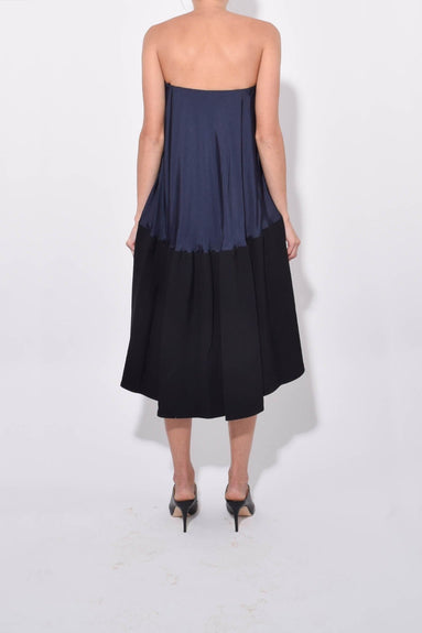 Sculpted Soft Drape Strapless Bias Dress in Navy/Black Multi
