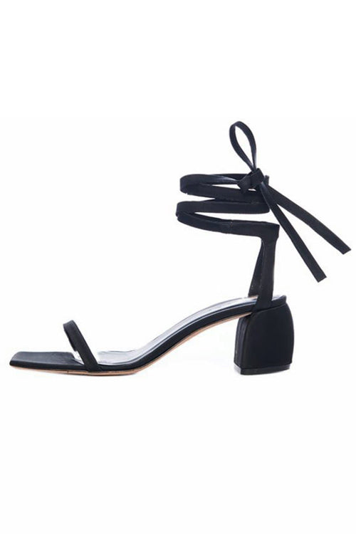 Shyah Satin Sandal in Black