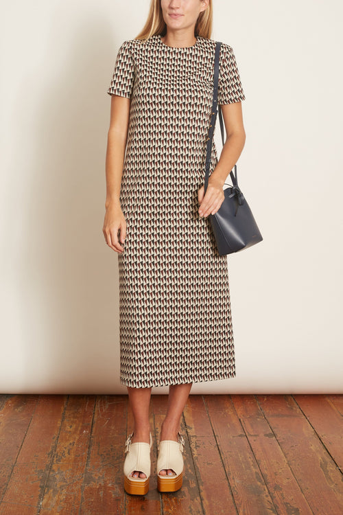 Silas Jacquard T-Shirt Dress in Rusty Brown Multi