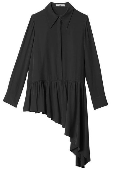 Silk Asymmetric Ruffle Blouse in Black