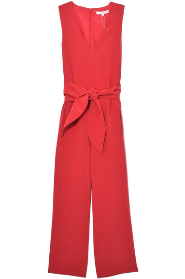 Silk Jumpsuit with Belt in Cherry Red