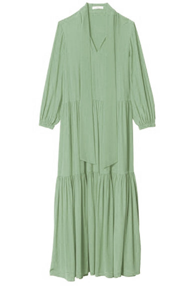 Silk Tie Neck Ruffle Dress in Pistachio