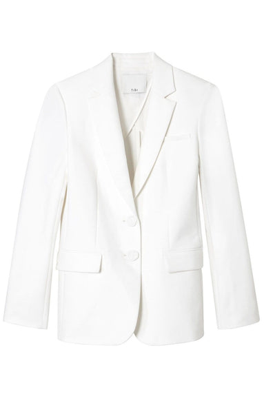 Spring Blazer with Sleeve Slit in White