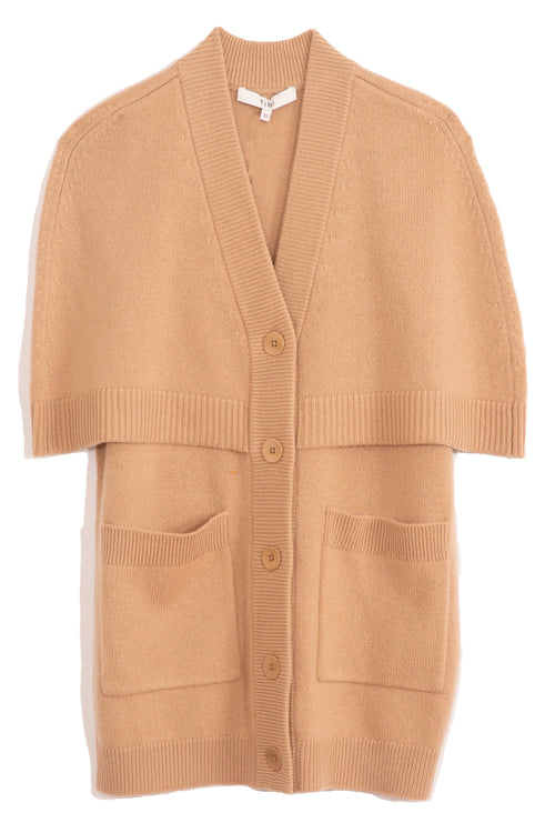 Spring Cashmere Cocoon Cape Cardigan in Taffy