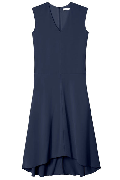 Spring Triacetate V-Neck Dress in Navy