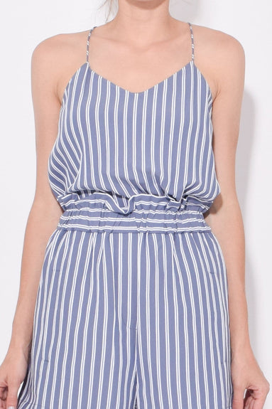 Stripe Viscose Twill Classic Cami in Dusty Blue Multi