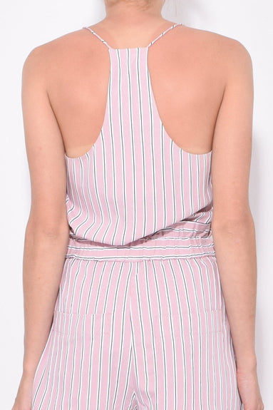 Stripe Viscose Twill Classic Cami in Dusty Pink Multi