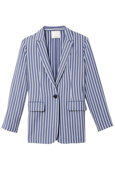Stripe Viscose Twill Oversized Blazer in Dusty Blue Multi