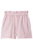 Stripe Viscose Twill Pull On Short in Dusty Pink Multi