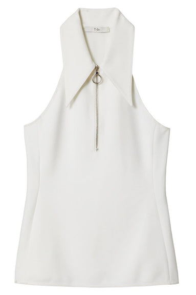 Structured Crepe Sleeveless Scuba Top in White
