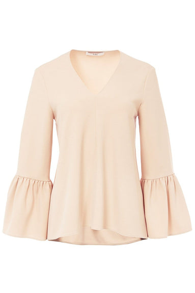 Structured Crepe V-Neck Ruffle Sleeve Top in Nude