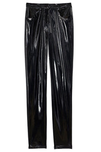 Tech Patent Skinny Pant in Black