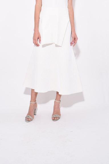 Tech Poly Ribbed Skirt in Cream Multi