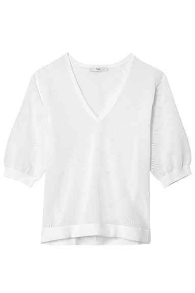 Tech Poly V-Neck Pullover in White