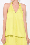 Tech Poplin Halter Top in Yellow