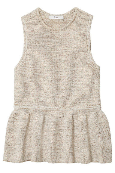 Tech Tweedy Sleeveless Sculpted Sweater in Cream Brown Multi