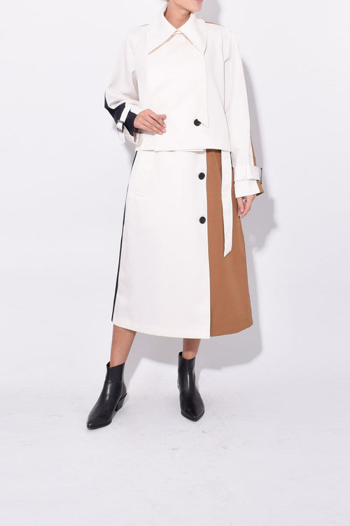 Techy Twill Colorblock Detachable Trench in Ivory Multi