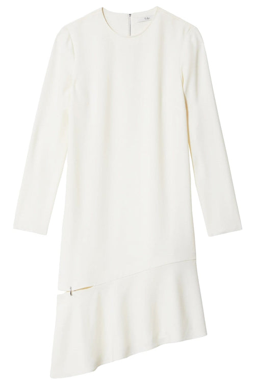 Triacetate Shift Dress with Detached Hem in Ivory