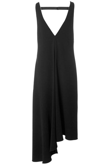 Triacetate V-Neck Draped Dress in Black