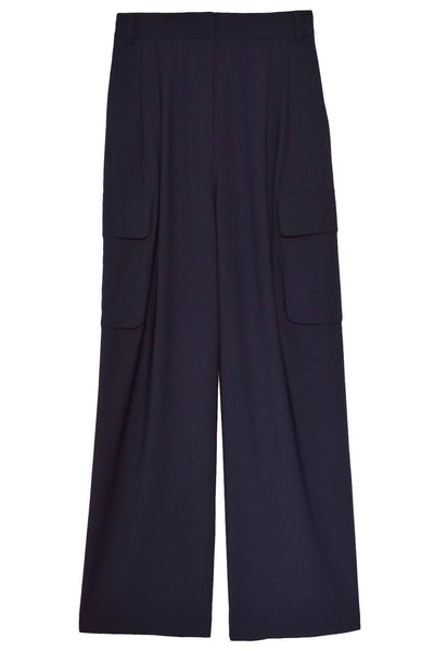 Tropical Wool Pleated Cargo Pant in Navy