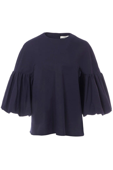 Watts Oxford Sculpted Button Back Top in Navy