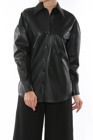Faux Leather Relaxed Utility Blouse in Black