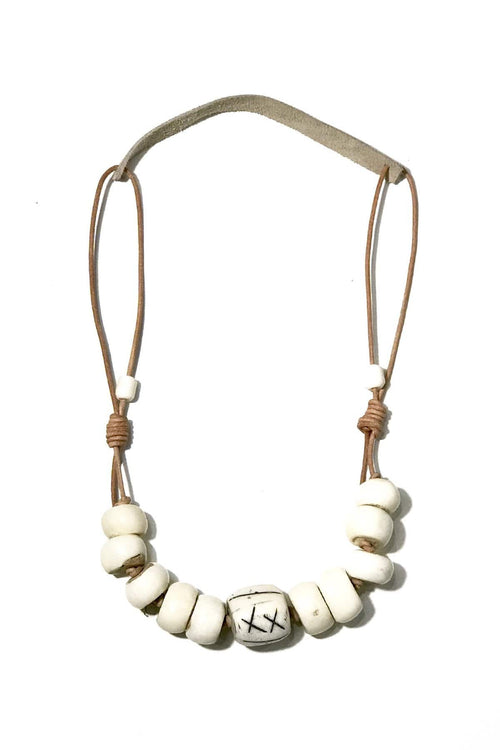Cord Classic Signature Necklace in White/Taupe