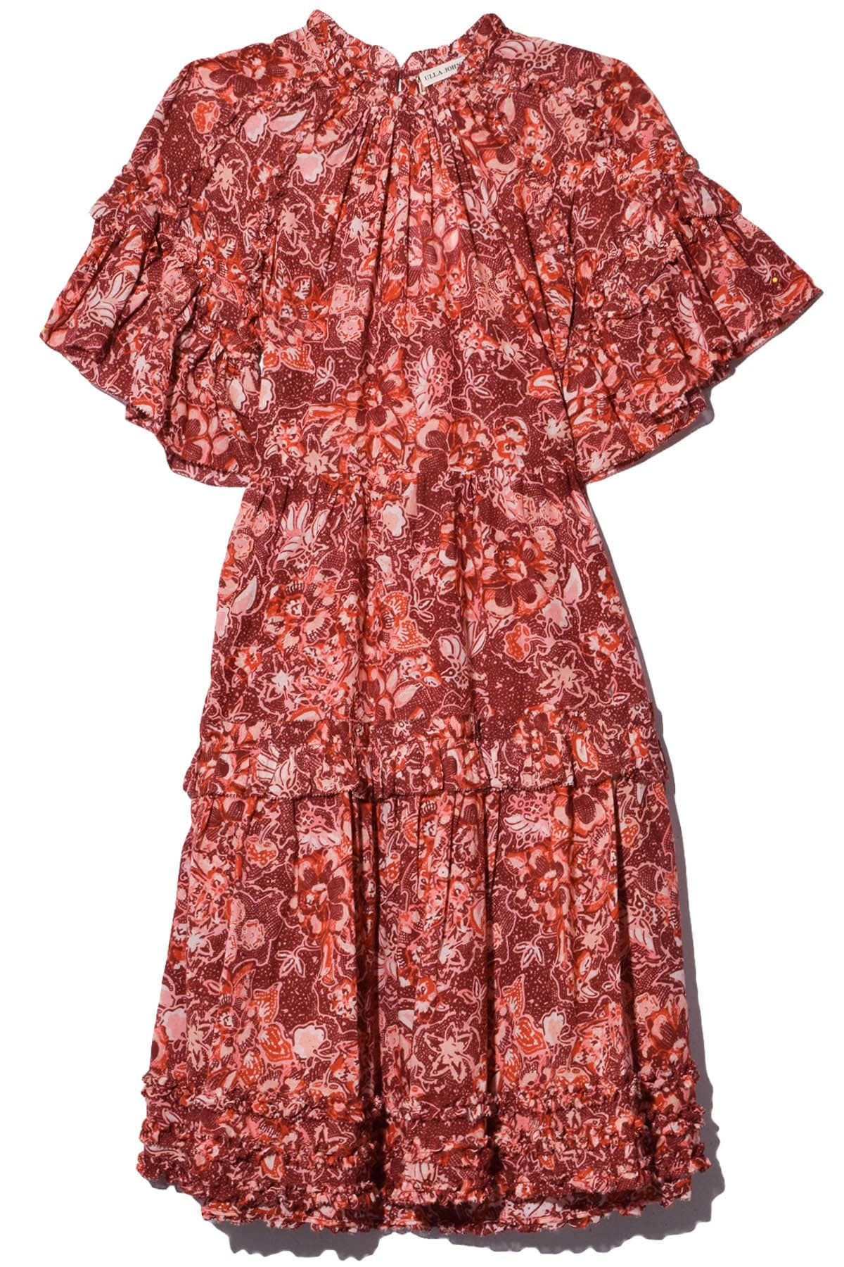 Cotton Tiered Floral Print Short Dress With Ruffles