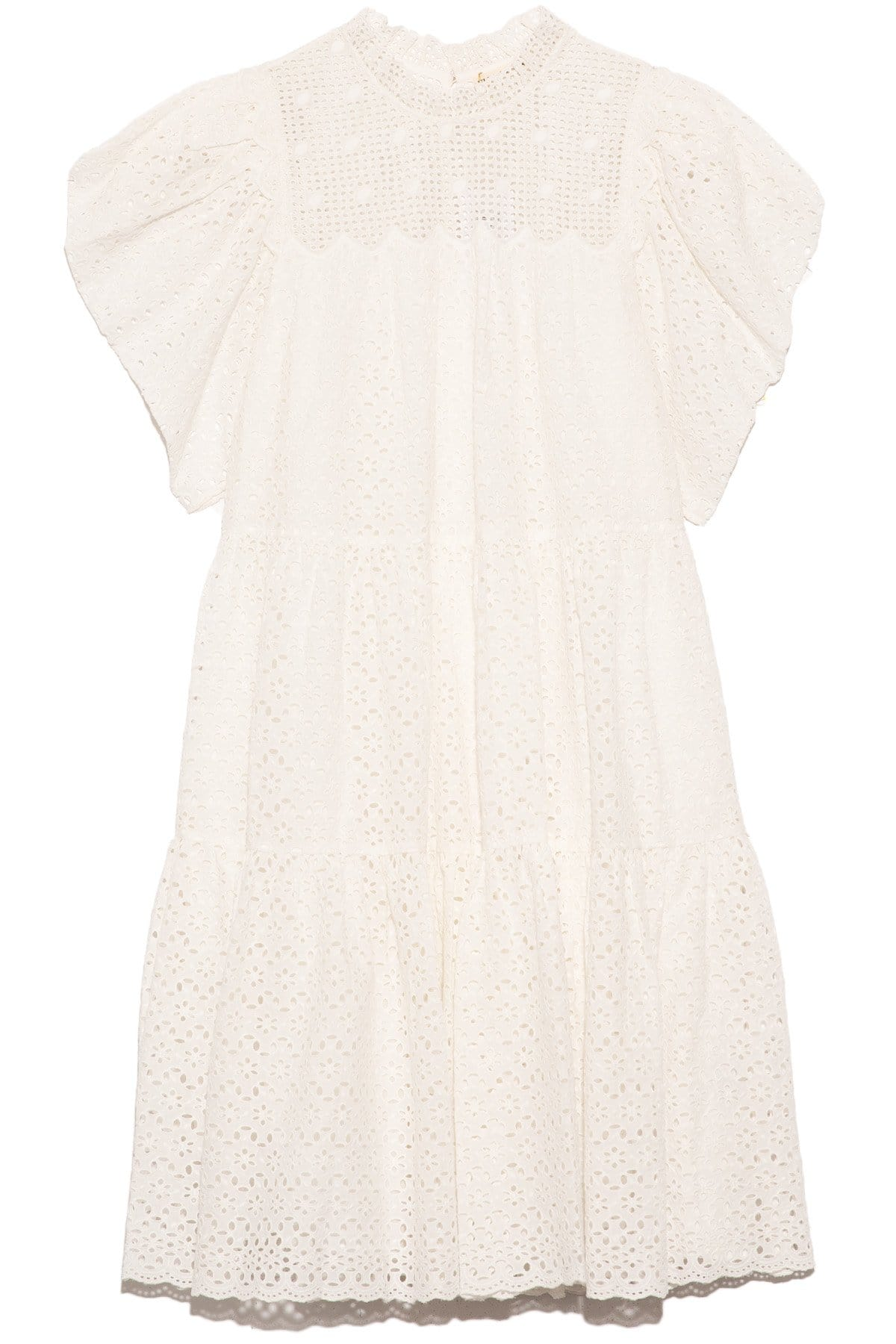 A-line General Print Button Closure Tiered Above the Knee Scalloped Trim Puff Sleeves Sleeves Cotton Loose Fit