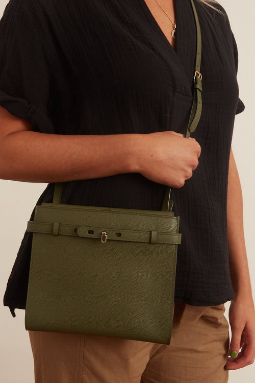 B-Tracollina Crossbody Bag in Green Militare