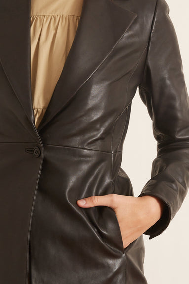 Morris Leather Blazer in Black