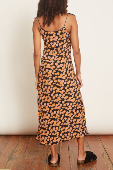 Spritz Slip Crepe Dress in Black Daisy