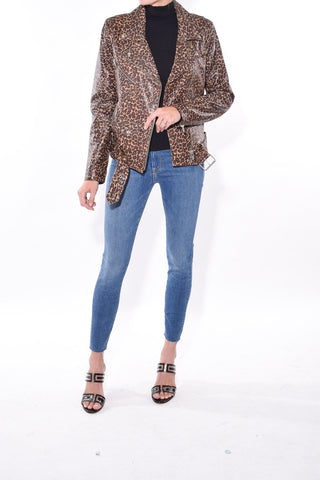 Jayne Smooth Leather Jacket in Leopard