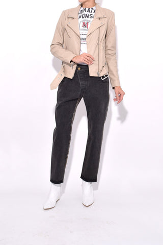 Jayne Smooth Leather Jacket in Beige