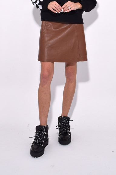 Leather Circle Skirt in Saddle