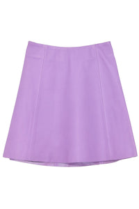 Leather Circle Skirt in Violet