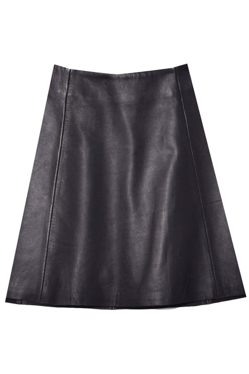 Smooth Leather Circle Skirt in Black