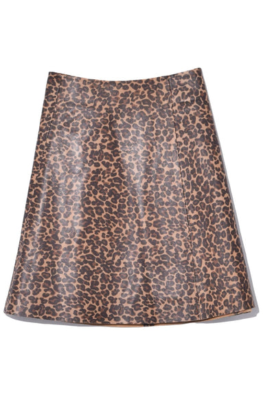 Smooth Leather Circle Skirt in Leopard
