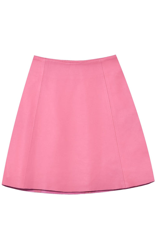 Smooth Leather Circle Skirt in Rosa