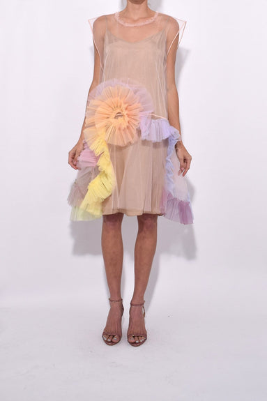 Rainbow Swirl Tulle Dress in Light Pink