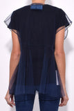 So Many Bows Tulle Top in Navy
