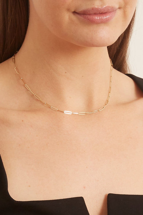 "14K Gold 16"" Thin Length Paperclip Chain"